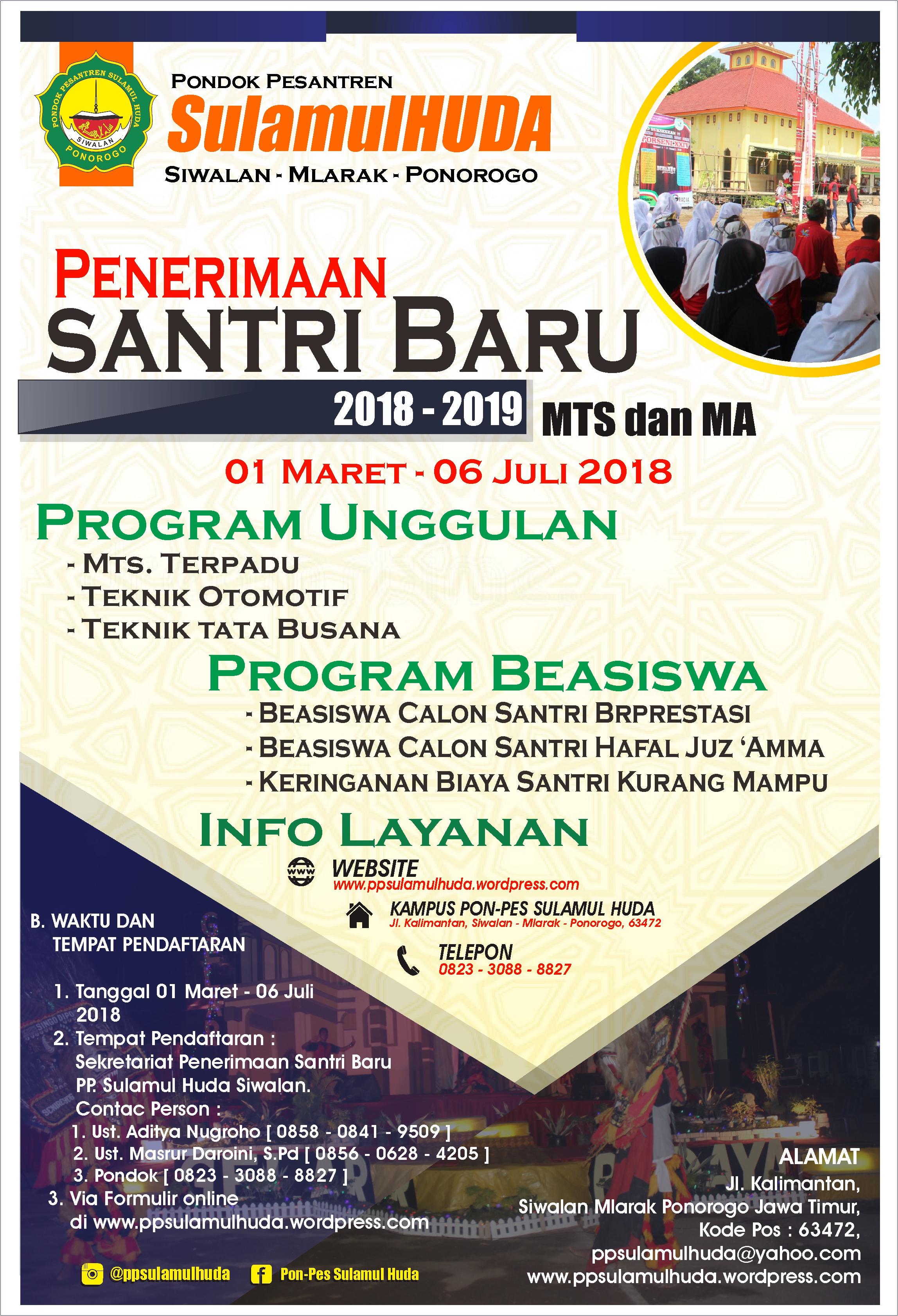 Pendaftaran Santri Baru Tahun Pelajaran 2018 2019 PP Sulamul Huda